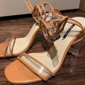 Zara clear heels beige size 6